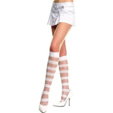 Striped opaque and fishnet knee high by Music Leg