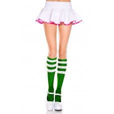 Green w White Triple Striped Knee High Tube Socks
