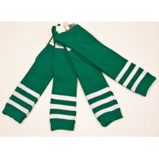 Green and white triple striped knee high socks