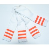 White with neon orange triple strip..