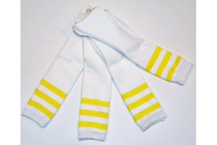 80c2db939 White with three Neon yellow striped knee high socks