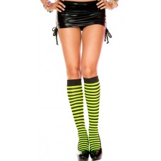 Opaque black and neon green striped knee high socks