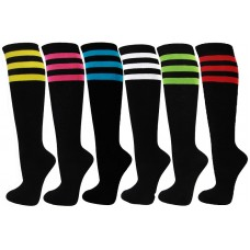 3 Pairs Black Classic Triple Striped Knee High Socks