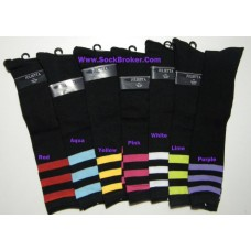 12 pack assorted black triple stripe knee high socks
