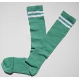 Light green knee high socks with do..