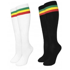Jamaican Flag Color Stripe Knee High Socks-Women