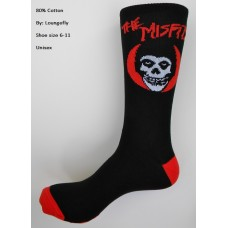 The misfits skeleton face mid-calf crew socks