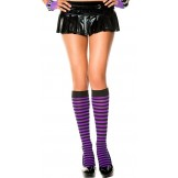 Opaque black and purple striped kne..
