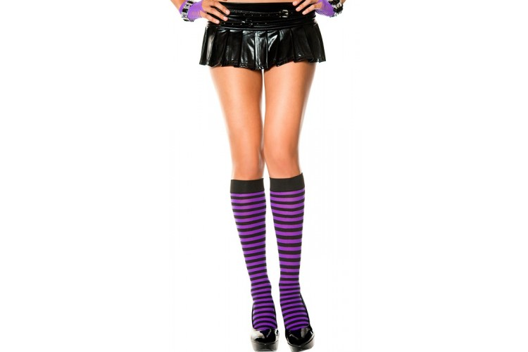 436414d98 Opaque black and purple striped knee high socks