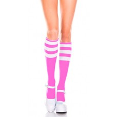 Neon Pink with 3 white triple striped knee high socks