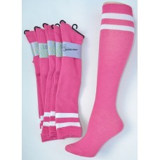 Hot pink knee high socks with double ( 2 ) white stripes