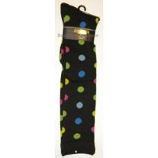Julietta Black knee high socks with multi-color polkadots