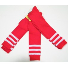 Red and white triple striped knee high socks