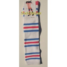 Angelina white knee high socks with blue and dark pink stripes