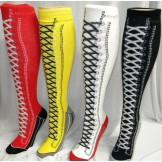 Cotton knee high sneaker socks in 4..