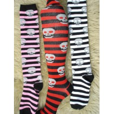 Leg Avenue striped skull knee high socks