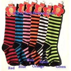 6 Pairs Of Assorted Childrens striped cotton knee high socks