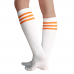 White with Neon Orange Old School 3 Striped Knee High