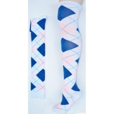 White with pink and blue over the knee cotton argyle socks size 4-9