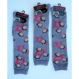 Gray knee high socks with monkeys b..