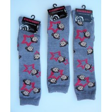 Gray knee high socks with monkeys by Everbright