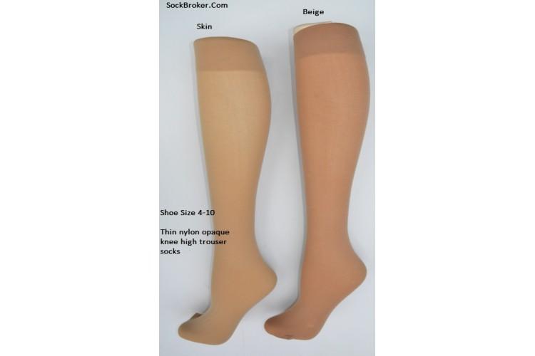 15c181ae4 Skin color opaque thin nylon knee high trouser socks