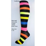 Black with Multi-color neon stripes..
