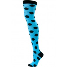 Turquoise blue with black polka-dot over the knee / thigh high socks by julieta
