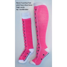 Neon fuchia-hot pink faux shoe knee high socks