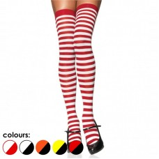 Opaque Red and White Skinny Striped Thigh High Socks