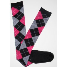 Black, pink and gray over the knee cotton argyle socks size 4-9