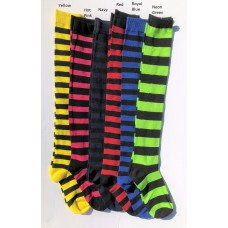 Cotton Black Striped Over The Knee Thigh Hi Socks