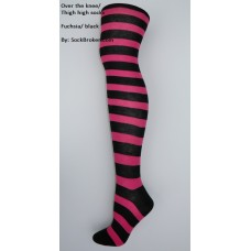 Black and hot pink fuchsia cotton thick striped over the knee socks