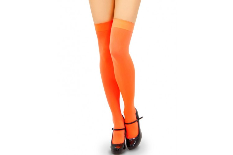 Opaque Orange Thigh High Socks