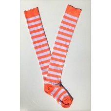Cotton white neon orange striped over the knee thigh high socks