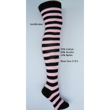 Black-baby pink cotton thick striped over the knee thigh high socks