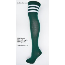 Cotton forrest green and white 3 striped over the knee thigh high socks