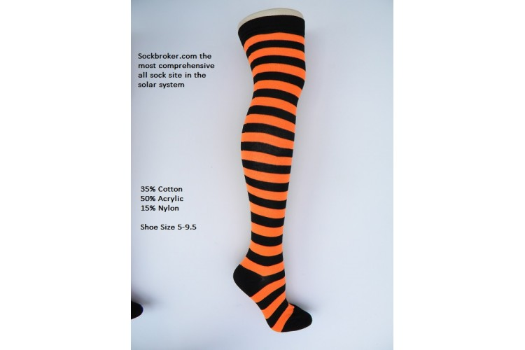 b0d4a9494 Black-orange cotton thick striped over the knee thigh high socks