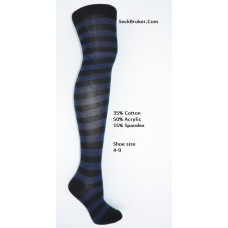 Black-royal blue cotton thick striped over the knee thigh high socks