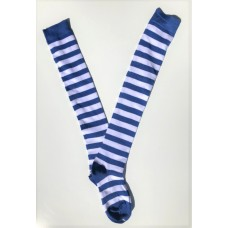 Cotton white with royal blue striped over the knee thigh high socks