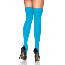 Opaque Turquoise Blue Thigh High Socks