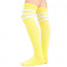 Cotton neon yellow and white  3 striped over the knee thigh high socks