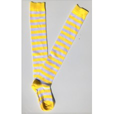 Cotton white neon yellow striped over the knee thigh high socks