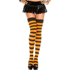 Opaque Black and Orange Thick Striped Thigh High Socks