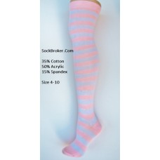 Cotton white with baby pink striped over the knee thigh high socks