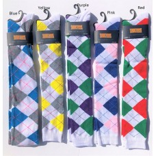 White Argyle Over The Knee Thigh High socks