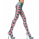 Music Leg Pink and Gray Argyle span..