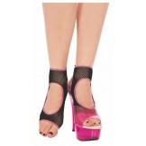 Music Legs open toe fishnet ankle h..