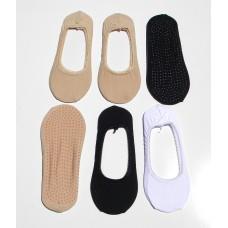6pr Cotton Non Slip No show Socks liners size 5-9