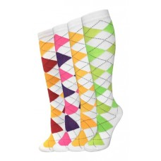 4pk White Assorted Argyle Knee High Socks